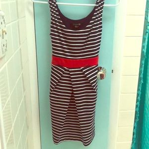 Forever21 small blue & white stripped with red bow